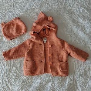 Gap baby garter hoodie sweater and beanie